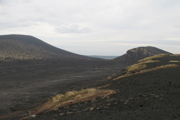 the black lava plain often called 'desert' on Oshima island