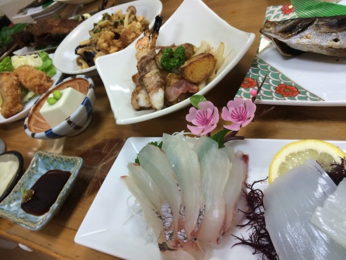 shikinejima, genbei, accommodation, Japanese inn, tokyo islands, izu islands, food, dinner