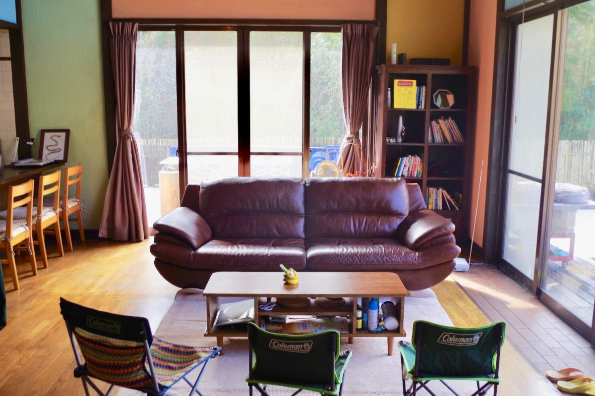 yellow, Island Star House, Oshima Island, hotel, inn, Tokyo Islands, accommodation, living room